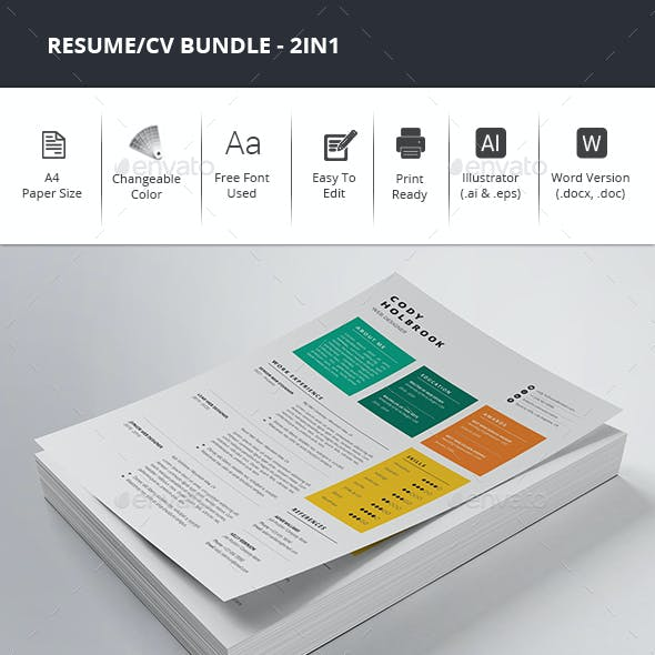 Colorful Resume/CV Bundle - 2in1
