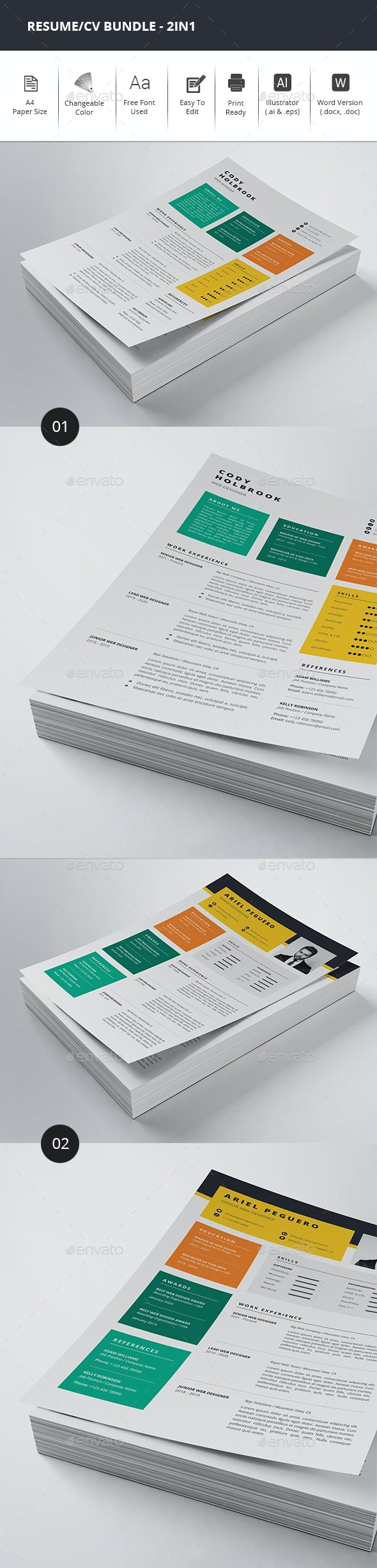 Colorful Resume/CV Bundle - 2in1 - Resumes Stationery