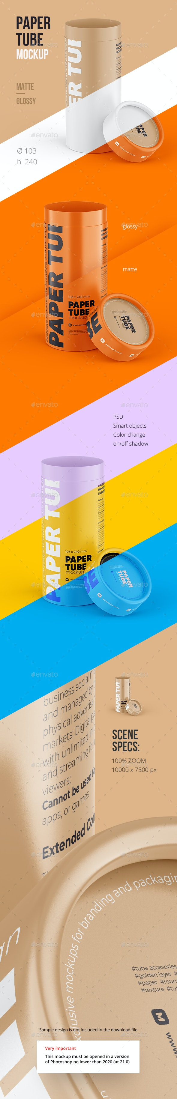 Opened Paper Tube Mockup 103x240mm - Food and Drink Packaging
