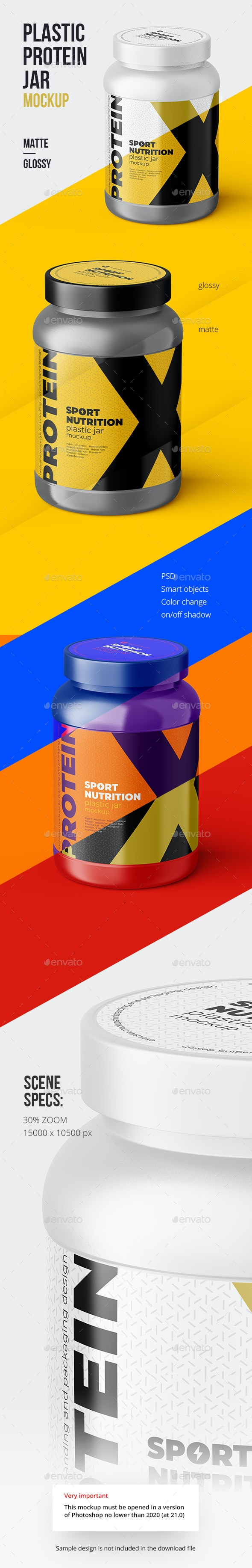 XL Sport Nutrition Plastic Jar Mockup - Food and Drink Packaging