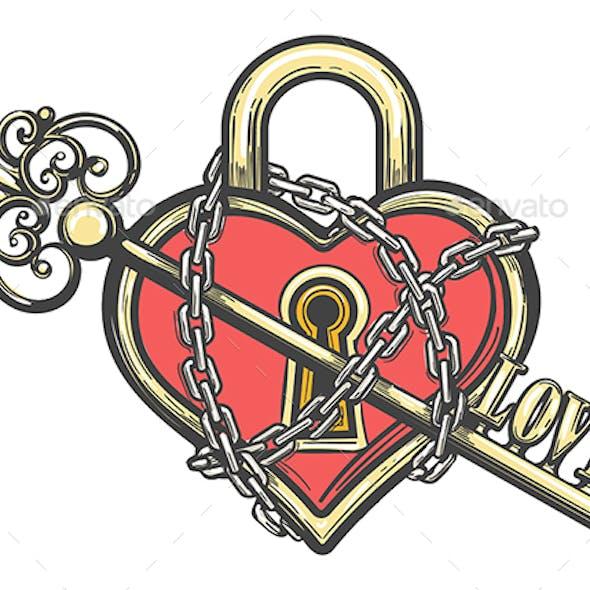 Heart Shaped Lock with a Key Tattoo