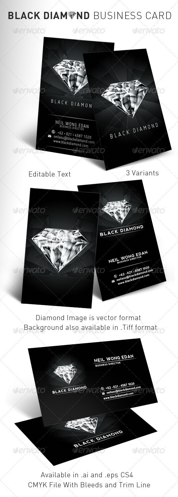 Black Diamond Business Card - Industry Specific Business Cards