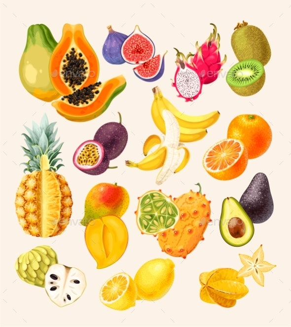 Vector Set of High Detailed Tropical Fruits - Food Objects
