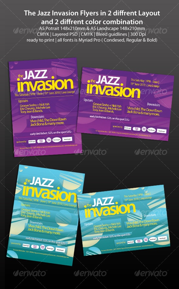 The Jazz Invasion Flyers - Clubs & Parties Events