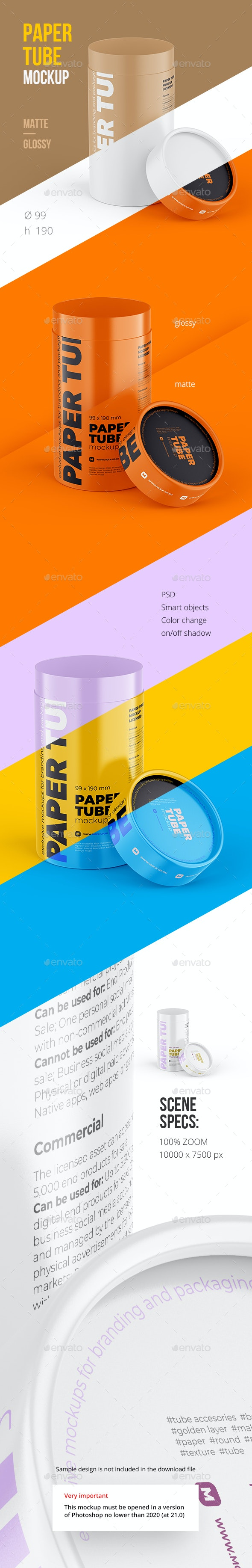 Opened Paper Tube Mockup 99x190mm - Food and Drink Packaging