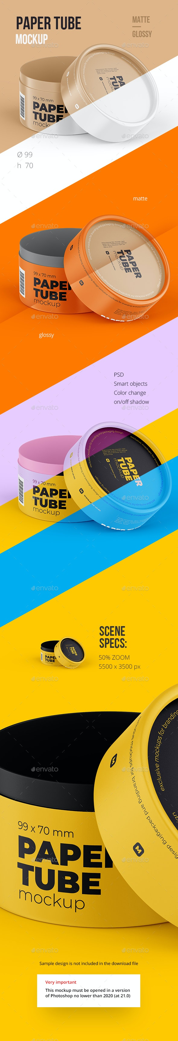 Opened Paper Tube Mockup 99x70mm - Food and Drink Packaging