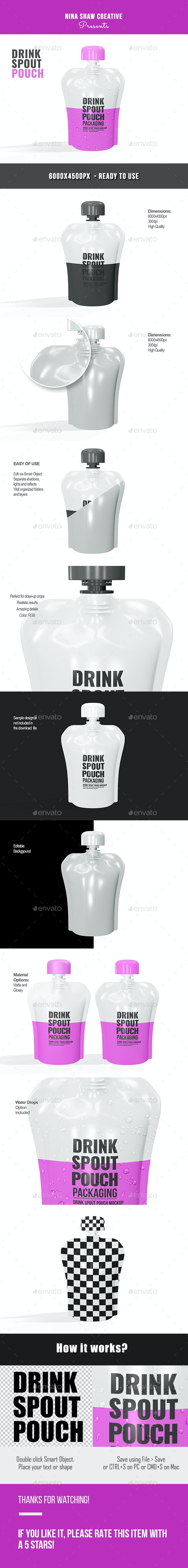 Drink Spout Pouch Mockup - Miscellaneous Print