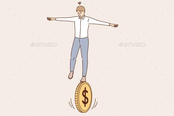 Business Financial Risk Balance of Economics - Business Conceptual