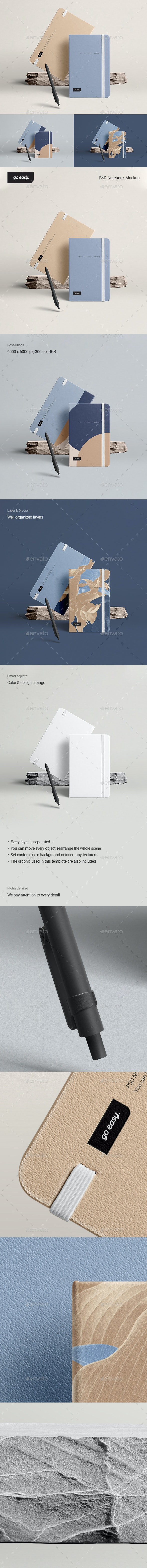 PSD Notebook Mockup - Product Mock-Ups Graphics