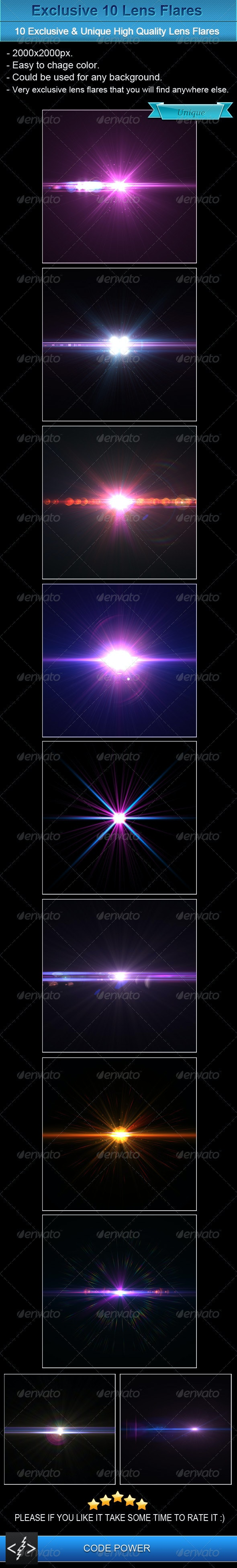 Exclusive 10 Lens Flares - Flourishes / Swirls Decorative