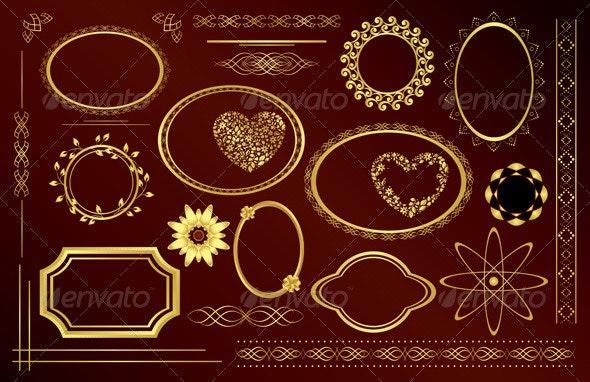 Gold Decorative Frames and Design Elements - Borders Decorative