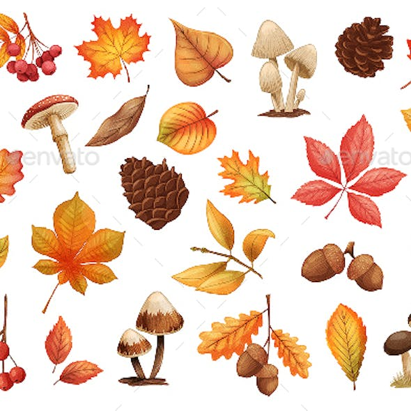Autumn Leaves and Mushrooms Stickers Set