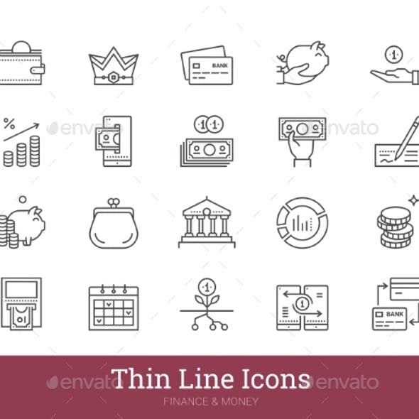 Money Payment Financial Business Linear Icons Set