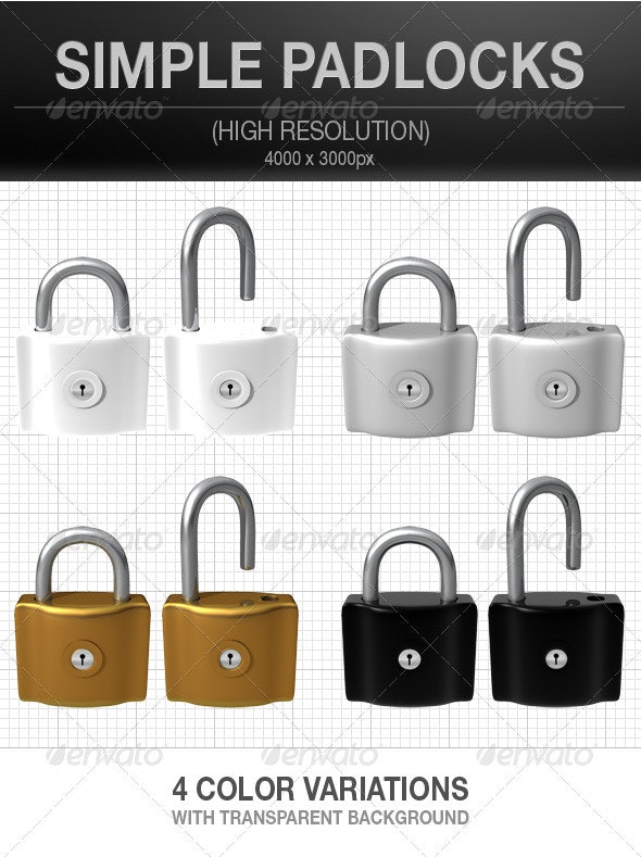 Simple Padlocks in 4 Colors - Miscellaneous Isolated Objects