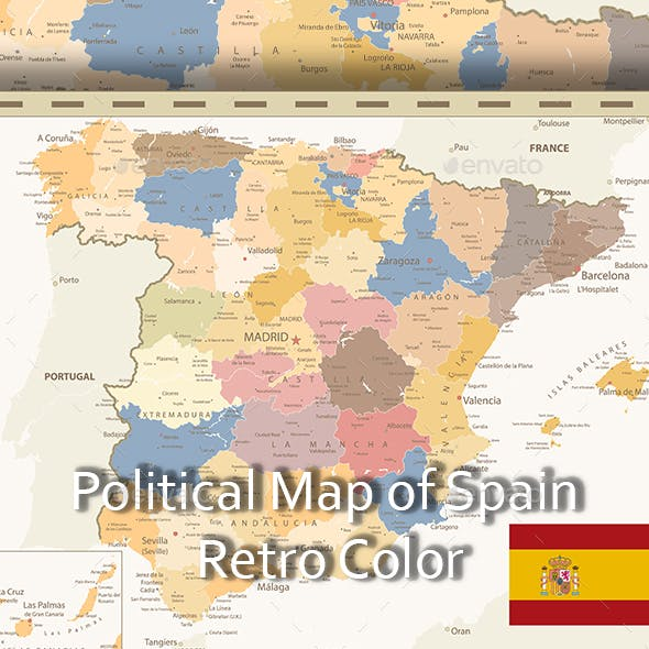 Detailed Political Map of Spain Retro Color