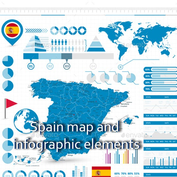 Spain map and infographic elements
