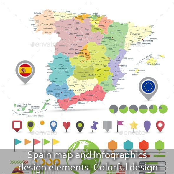 Spain map and Infographics design elements