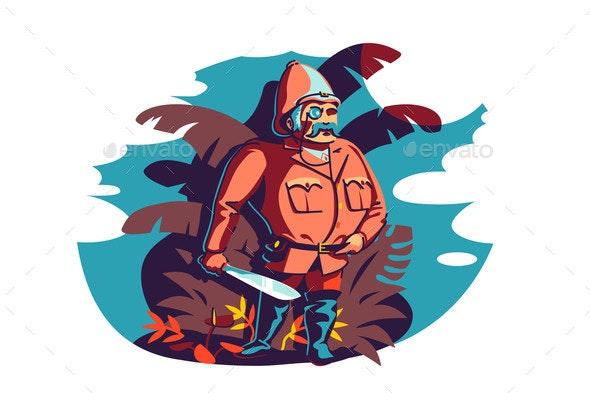 Man Brave Traveler and Explorer - Miscellaneous Vectors