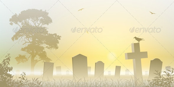Misty Cemetery - Landscapes Nature
