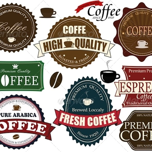 Set coffee labels and elements