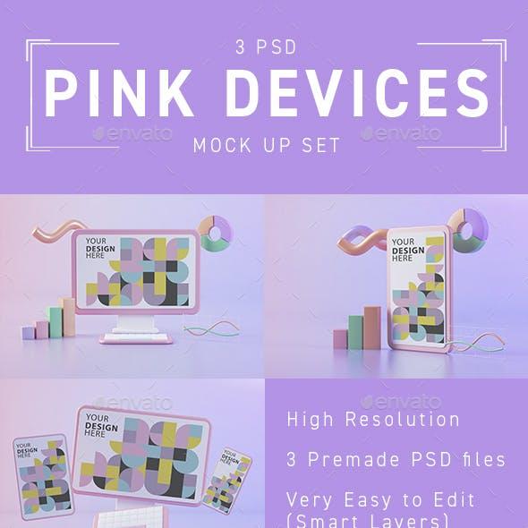 Pink Devices Render Mockup Set