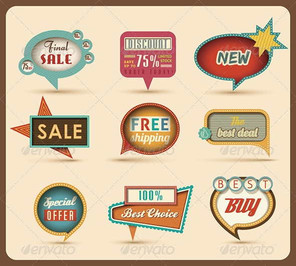 The new retro speech bubbles/signs collection.  - Characters Vectors