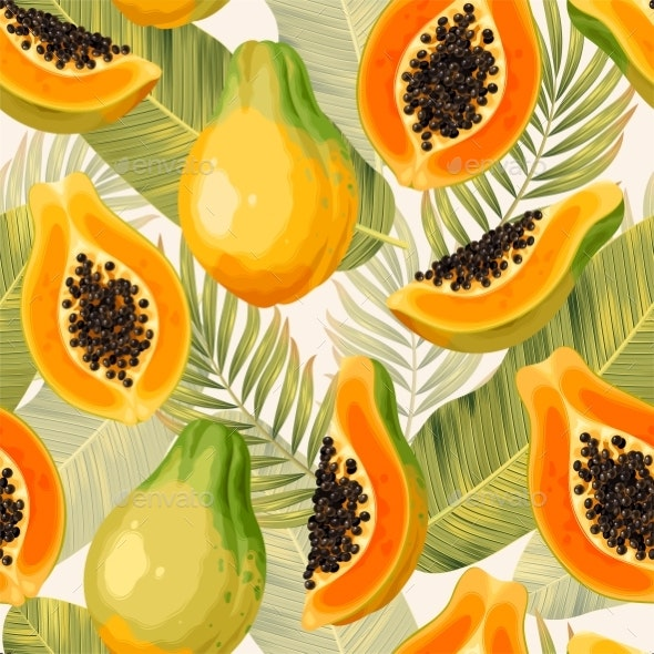 Vector Seamless Pattern with Papaya and Palm Leaf - Food Objects
