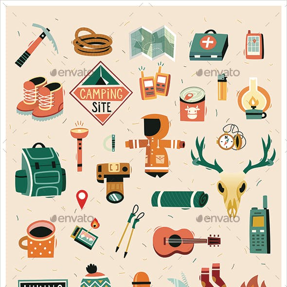 Hiking elements vector stickers and icons. Isolated vector images.