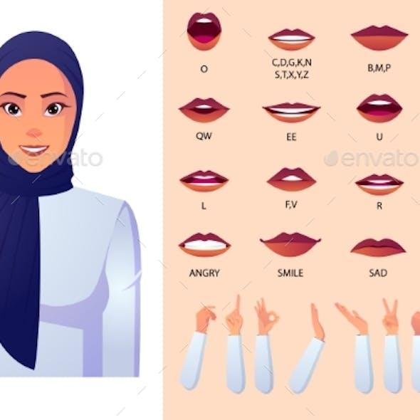 Muslim Woman Character Lip-Sync Set.