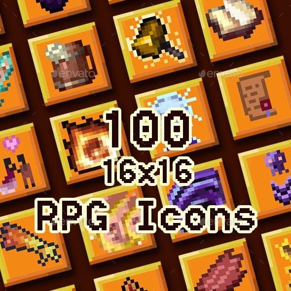100 16x RPG Skill Icons