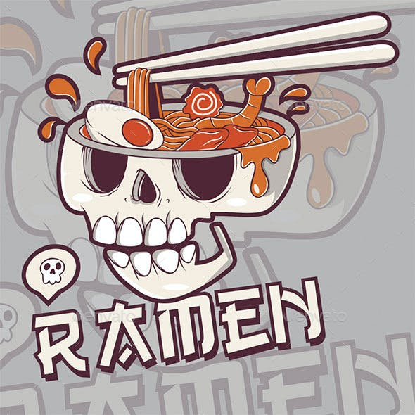 Ramen Skull T-shirt Design