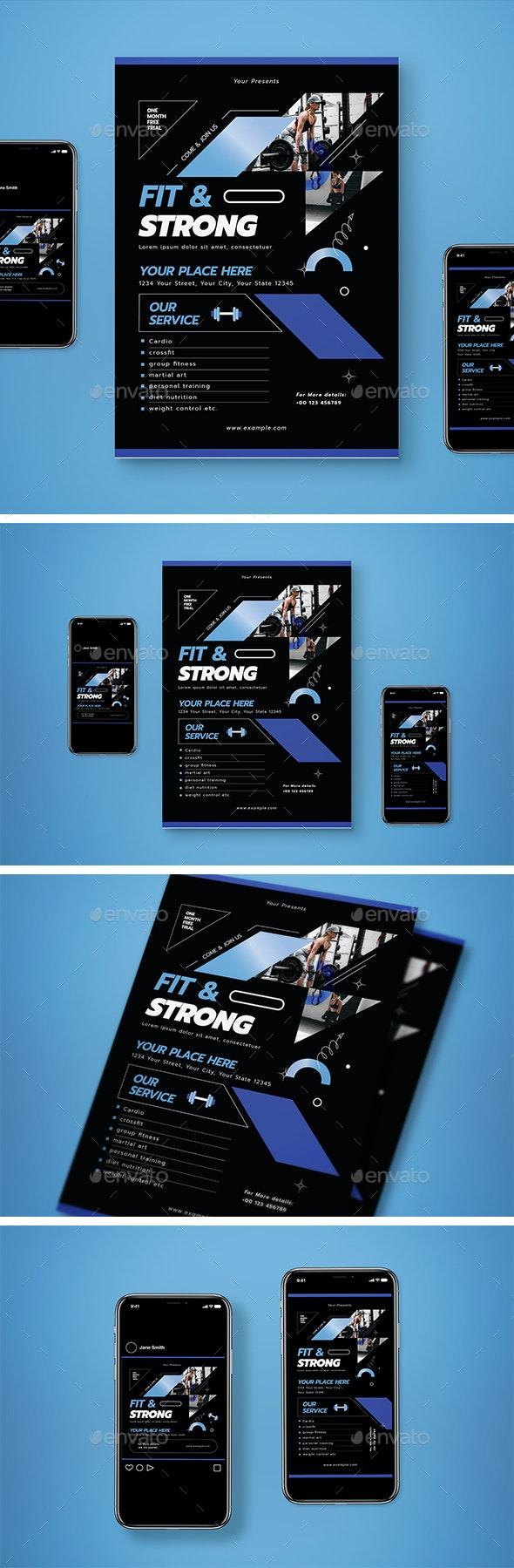 Simple Gym Flyer Set - Flyers Print Templates