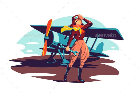 Female Aviator Holding Wrench Instrument - Man-made Objects Objects