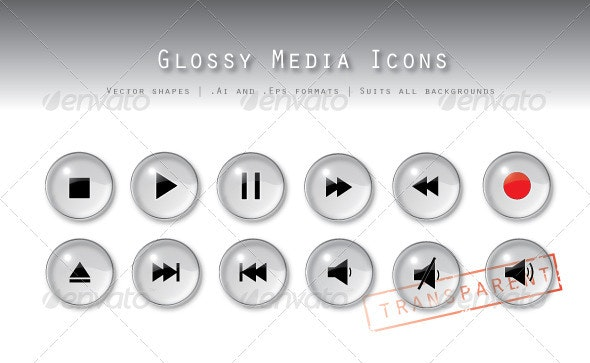 Transparent Media Buttons - Icons