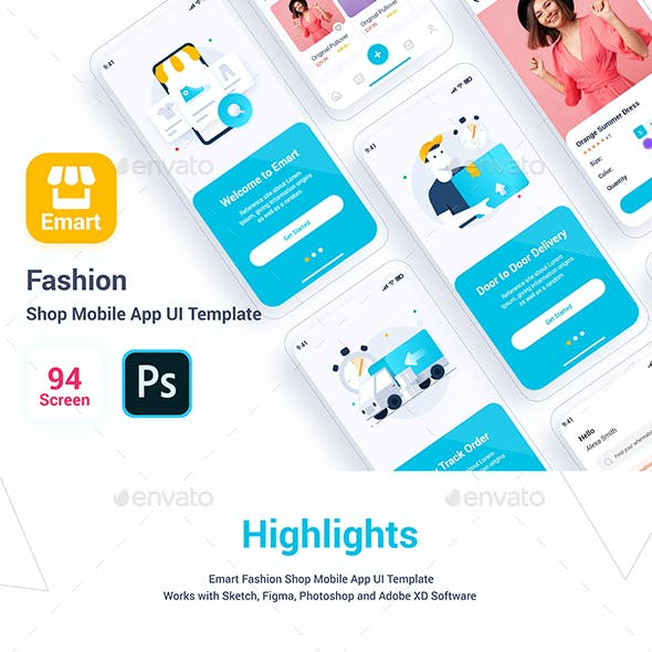 Emart – Fashion Shop Mobile App UI Template