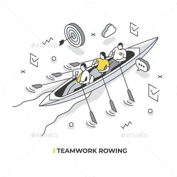 Team Rowing Isometric Illustration - Concepts Business