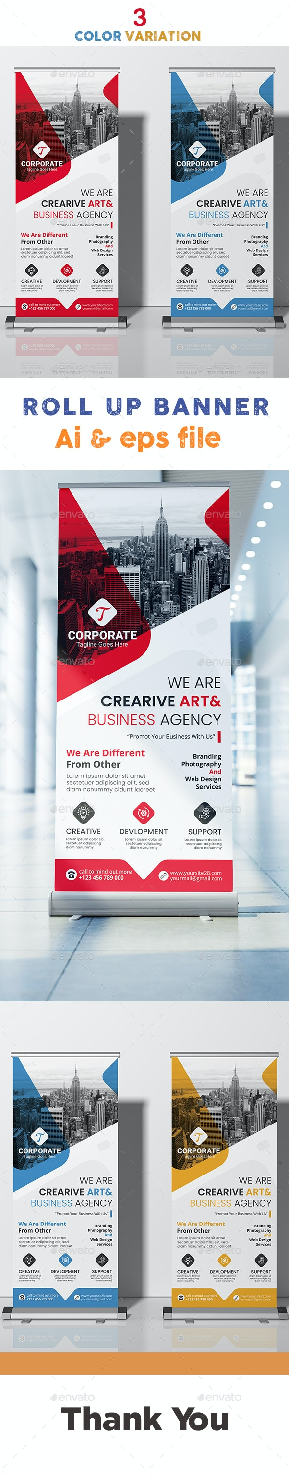 Coporate Roll up banner - Signage Print Templates