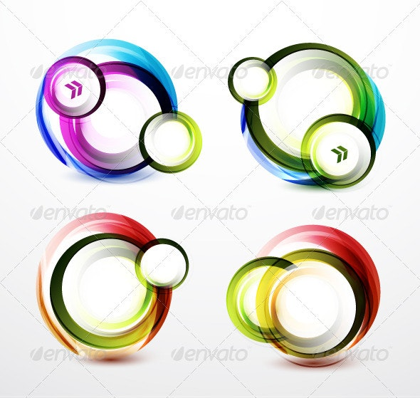 Rainbow Color Swirl Banners - Backgrounds Decorative