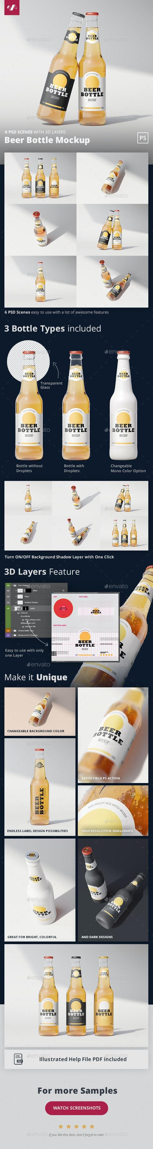 Beer Bottle Mockup - Food and Drink Packaging