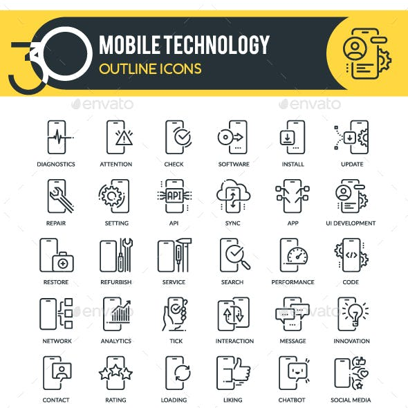 Mobile Outline Technology Icons