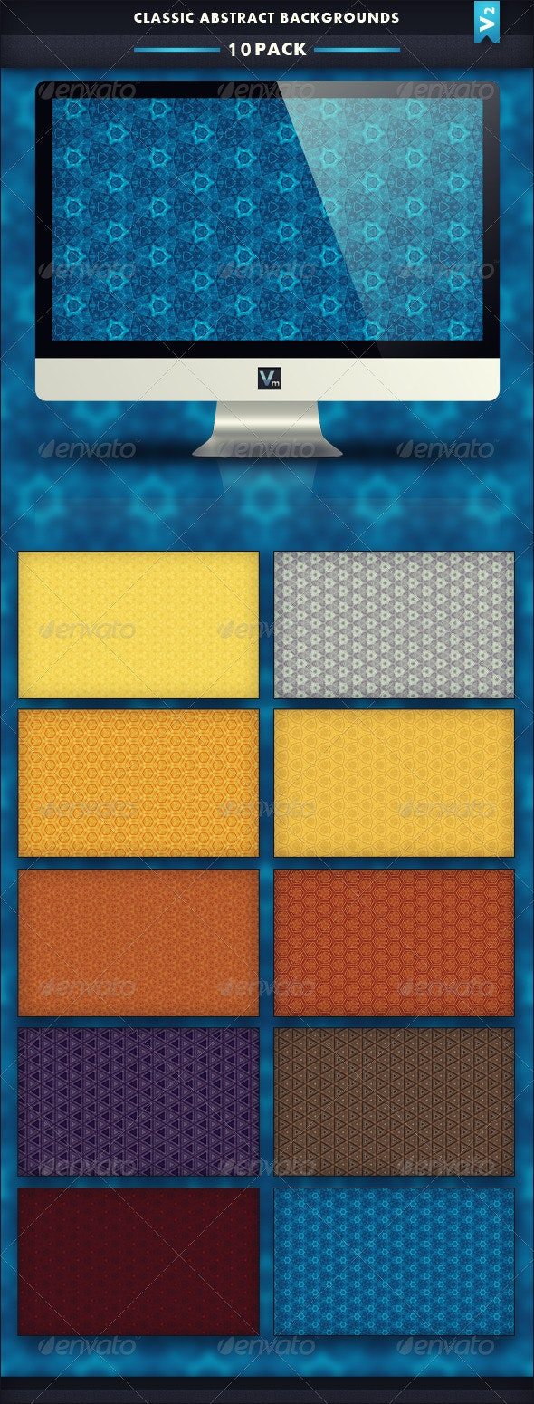 10 Pack - Classic Abstract Backgrounds V2 - Patterns Backgrounds