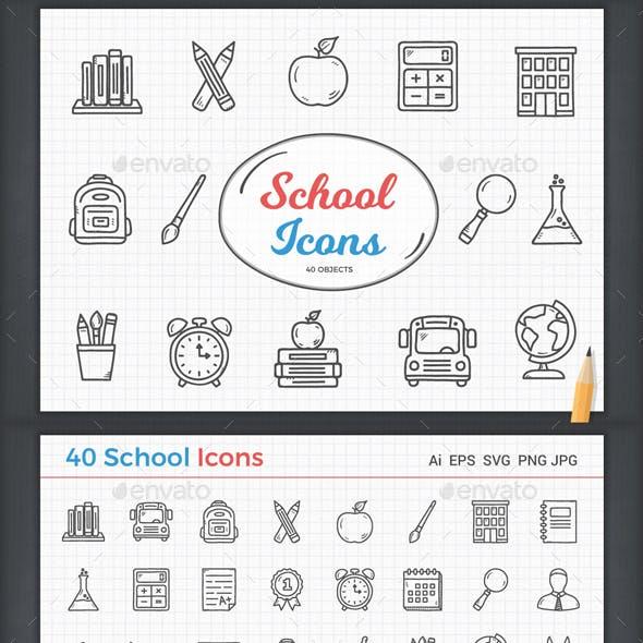 School Icon - 40 Objects