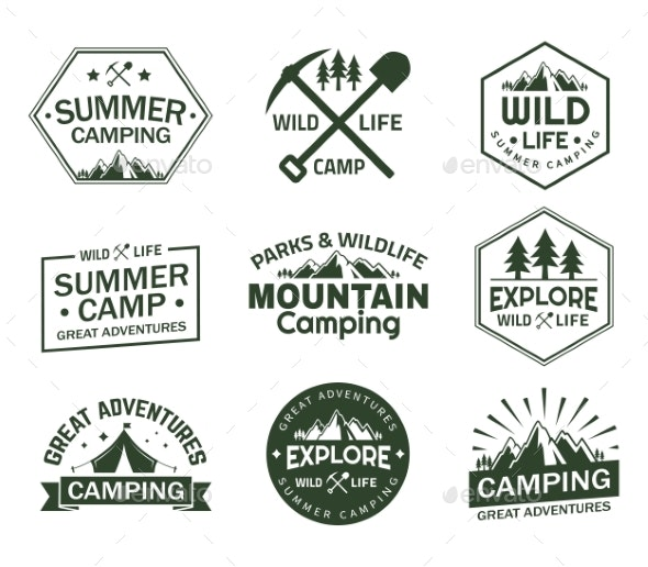 Set of Isolated Signs with Mountains and Trees - Objects Vectors