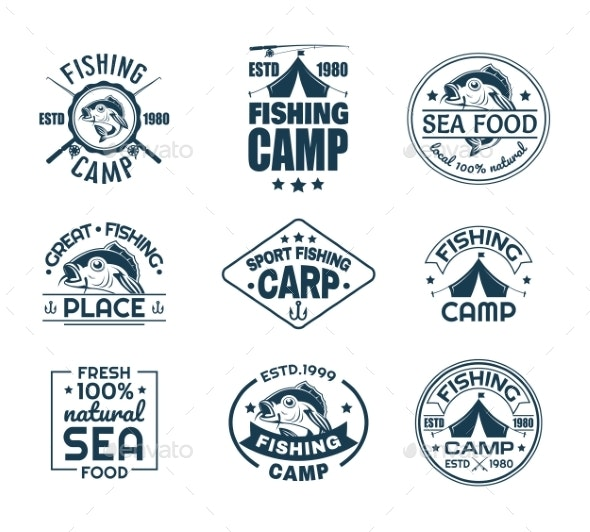 Set of Isolated Fishing Sport Logo with Fish - Animals Characters