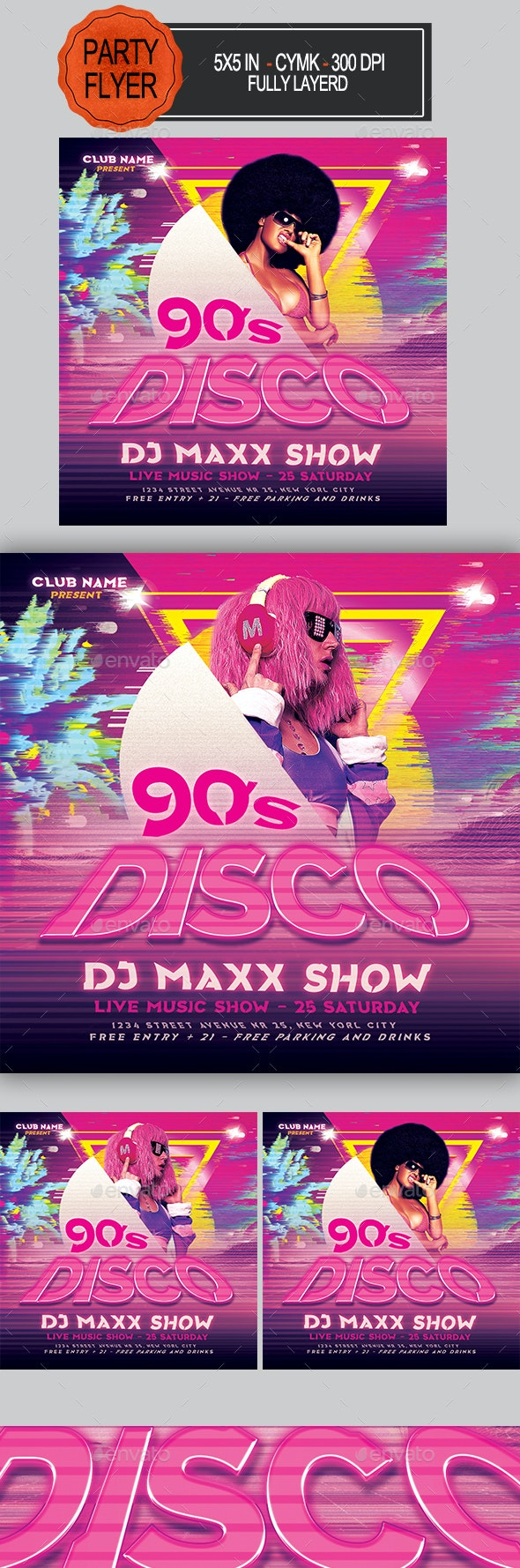 Disco 90's Party Flyer - Clubs & Parties Events