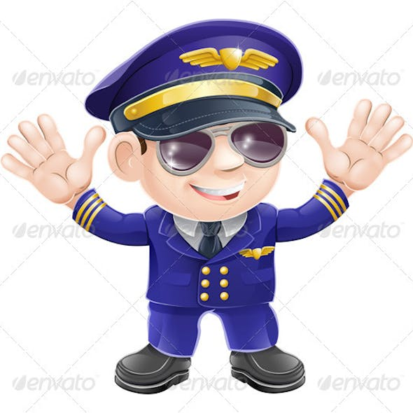 Cartoon airplane pilot