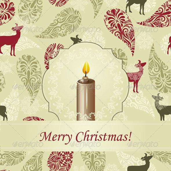 Vector Christmas Greeting Card with Candle - Christmas Seasons/Holidays