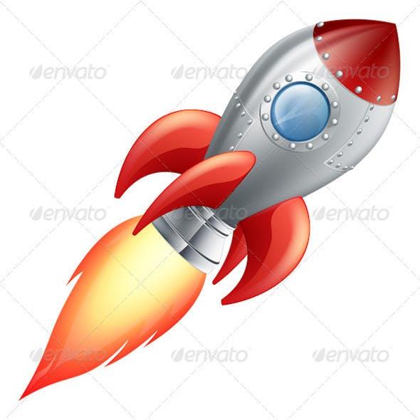 Cartoon rocket space ship