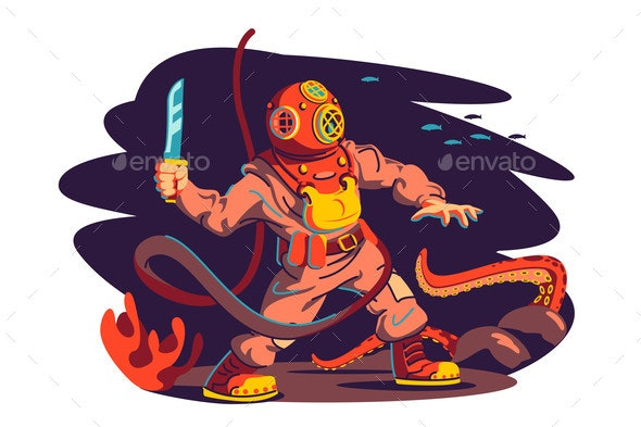 Scuba Diver Man and Octopus - Animals Characters