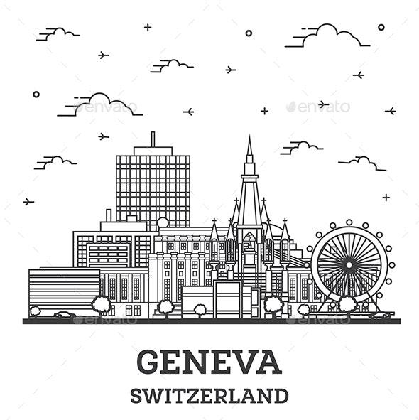 Outline Geneva Switzerland City Skyline - Buildings Objects